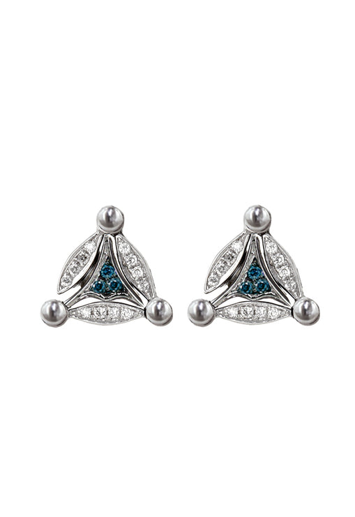 DiVersa Silver Blue and White Diamond Earrings, .18 TCW