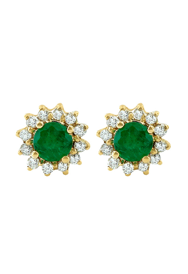 Effy Brasilica 14K Yellow Gold Emerald and Diamond Earrings, 0.72 TCW