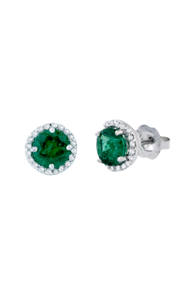 Gemma Emerald and Diamond Stud Earrings, 1.82 TCW