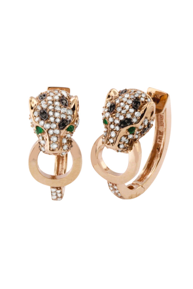 Effy Signature 14K Rose Gold Diamond and Emerald Earrings, 0.89 TCW