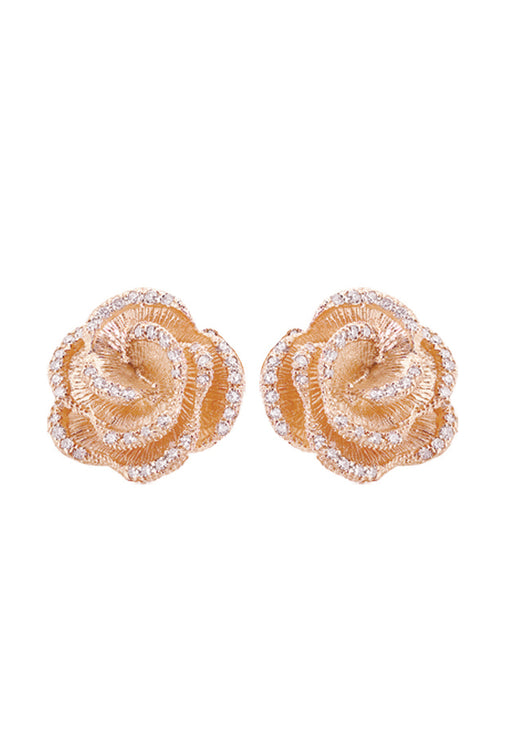 Effy 14K Rose Gold Diamond Accented Flower Earrings, 0.45 TCW