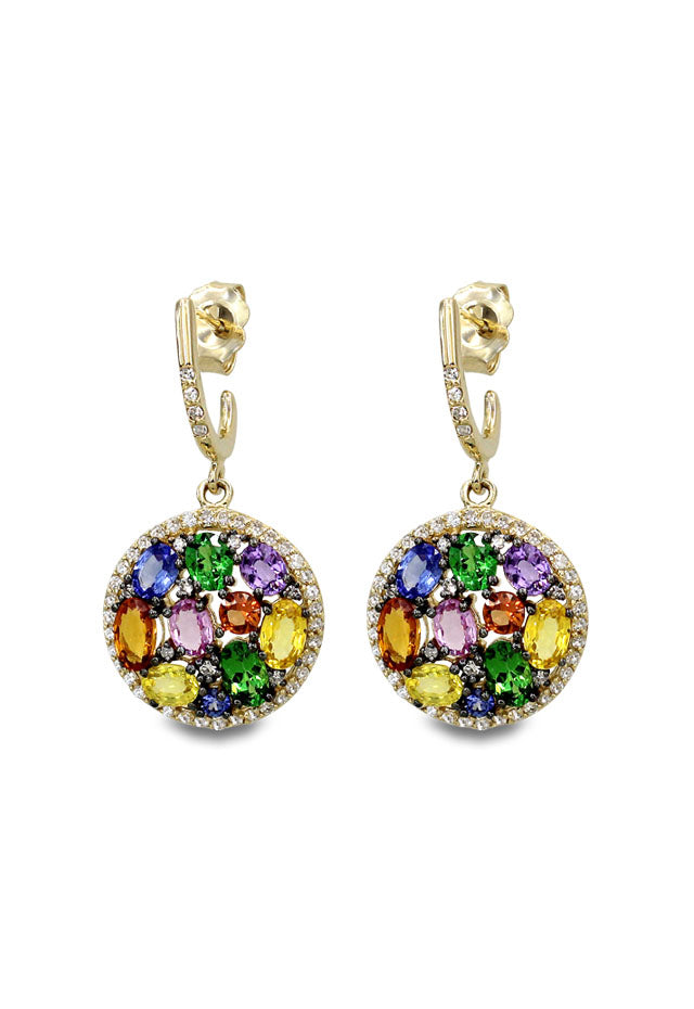Effy Watercolors 14K Yellow Gold Multi Sapphire & Diamond Earrings, 5.08 TCW