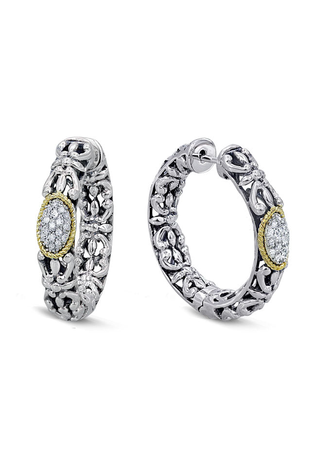 Effy 925 Sterling Silver and 18K Gold Accented Diamond Earrings, 0.19 TCW
