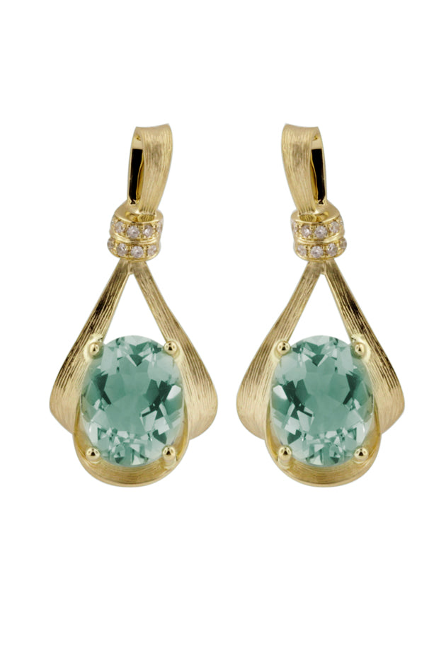 Effy 14K Yellow Gold Green Amethyst and Diamond Earrings, 3.85 TCW