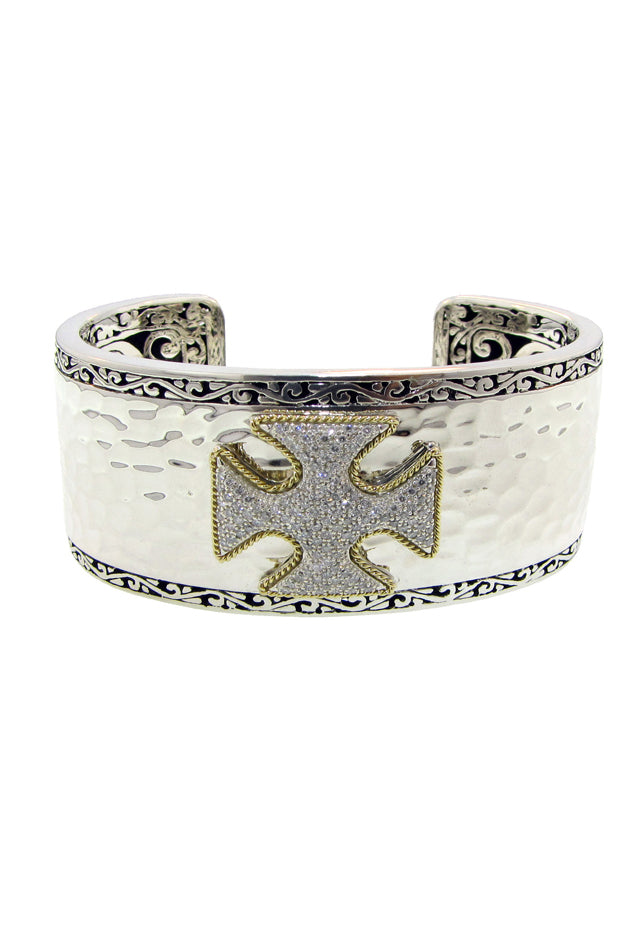 Effy Sterling Silver & 18K Gold Accented Diamond Maltese Cross Bangle, 0.60 TCW