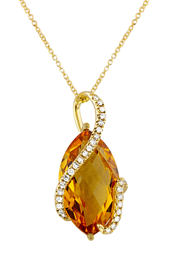 Effy Sunset 14K Yellow Gold Citrine and Diamond Pendant, 8.69 TCW