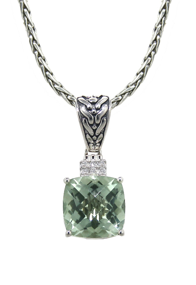 Effy 925 Green Amethyst and Diamond Pendant, 4.03 TCW