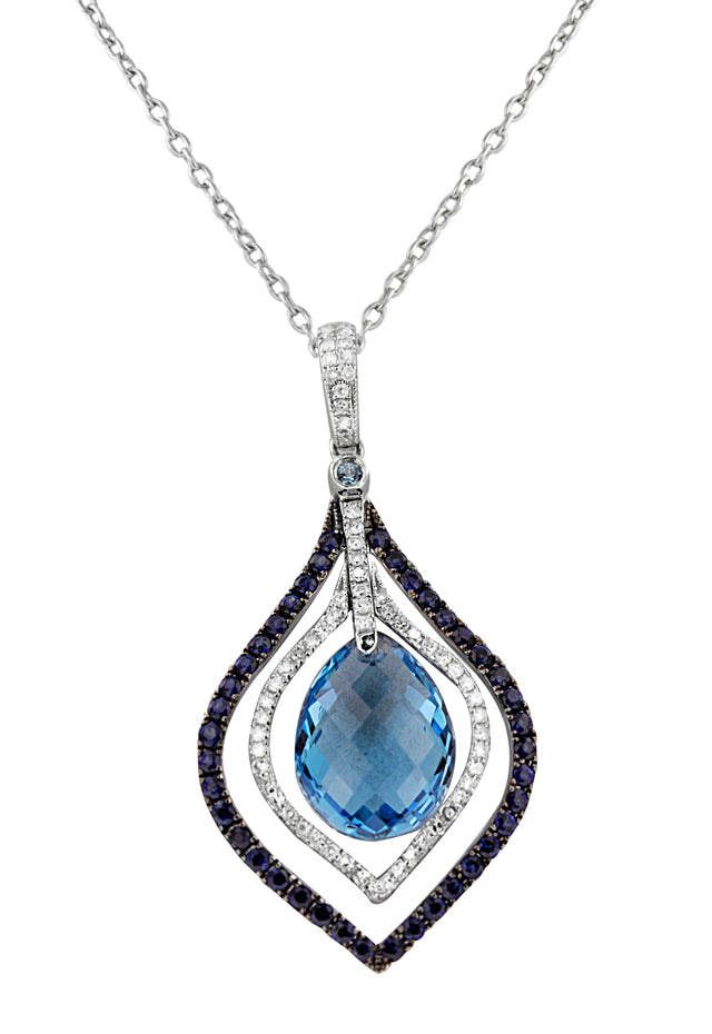 14K White Gold Blue Topaz & Diamond Pendant, 7.69 TCW
