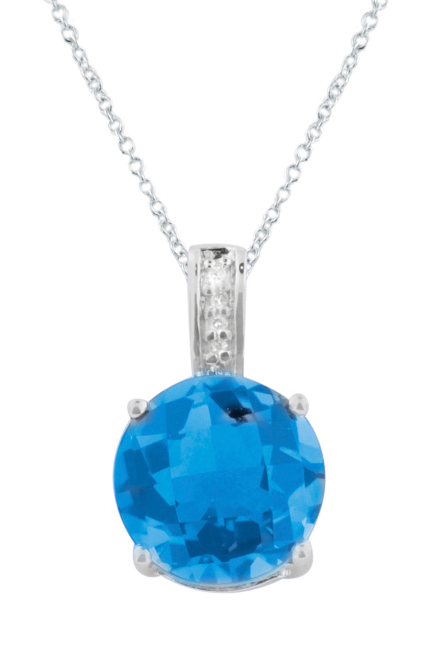Effy 14K White Gold Blue Topaz and Diamond Pendant, 4.77 TCW