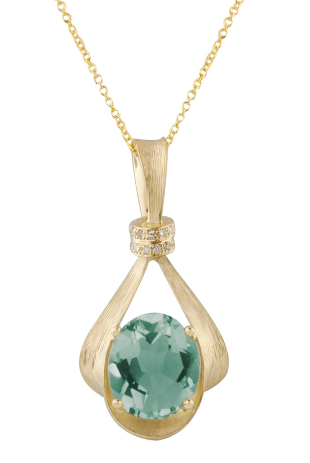Effy 14K Yellow Gold Green Amethyst and Diamond Pendant, 2.59 TCW