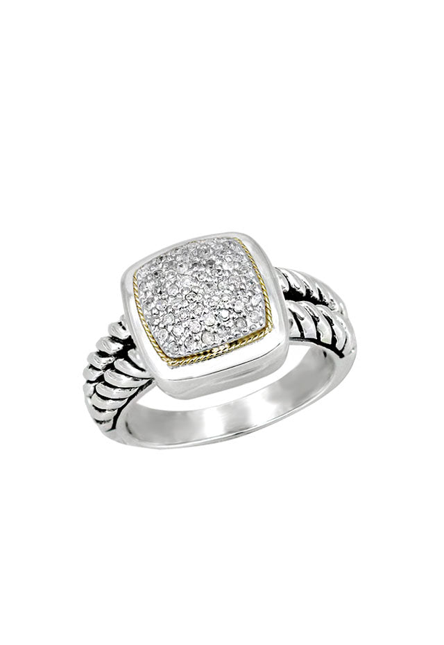 Effy 925 Sterling Silver and 18K Gold Accented Diamond Ring, 0.20 TCW