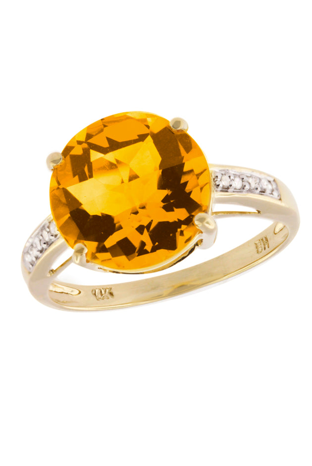 Yellow Gold Citrine and Diamond Ring, 1.34 TCW