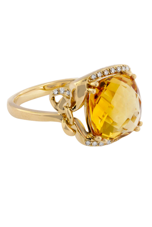 Yellow Gold Citrine and Diamond Ring, 1.39 TCW