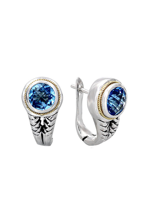Balissima Silver & Gold Blue Topaz Earrings, 3.80 TCW