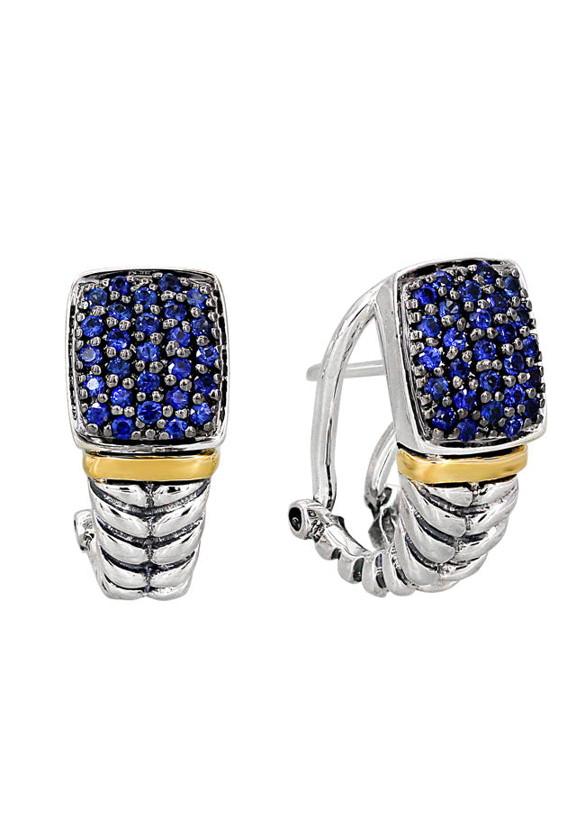 Balissima Silver & Gold Blue Sapphire Earrings, .62 TCW