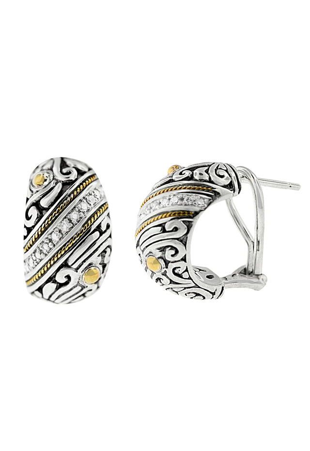 Balissima Silver & 18K Gold Diamond Earrings, .17 TCW