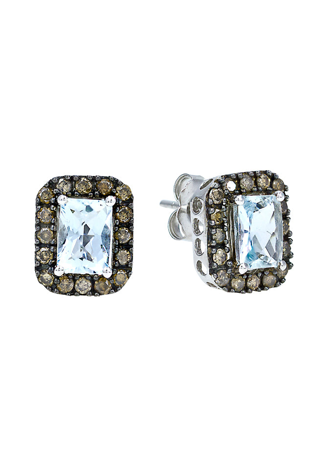 Aquamarine & Cognac Diamond Earrings, 2.38 TCW
