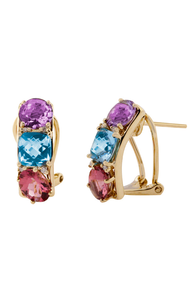 Diamond & Multi Color Gemstone Earrings, 4.49 TCW