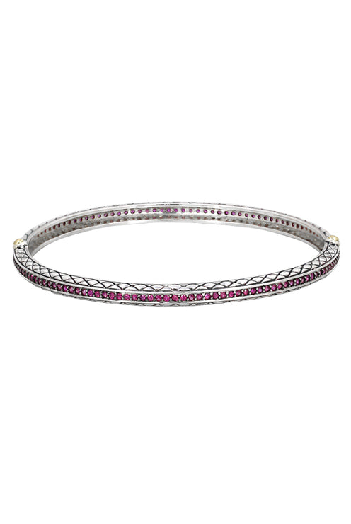 Balissima Sterling Silver & Gold Ruby Bangle, 1.63 TCW