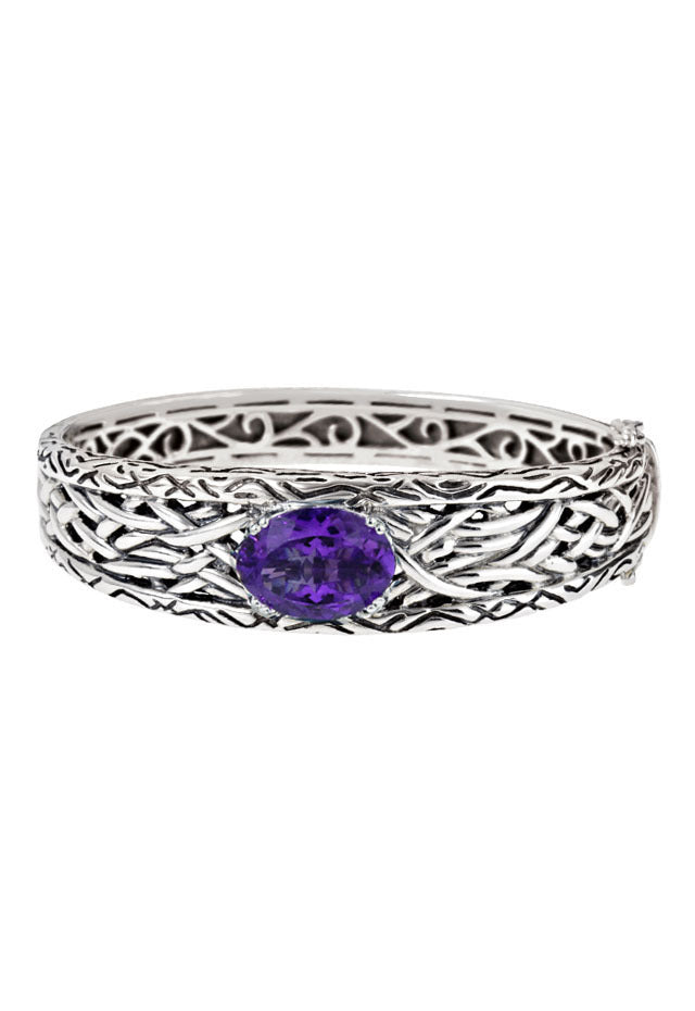 Effy 925 Lagoon Sterling Silver Amethyst Bangle, 8.17 TCW