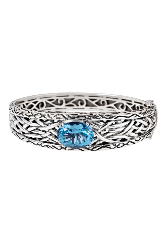 Effy 925 Lagoon Sterling Silver Blue Topaz Bangle, 10.64 TCW