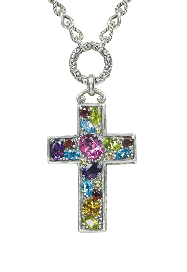 Effy 925 Cross Pendant with Multi Color Gemstones