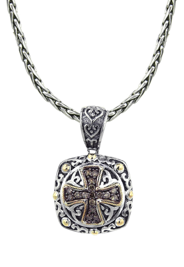 Effy 925 Cognac Diamond Maltese Cross Pendant, .45 TCW