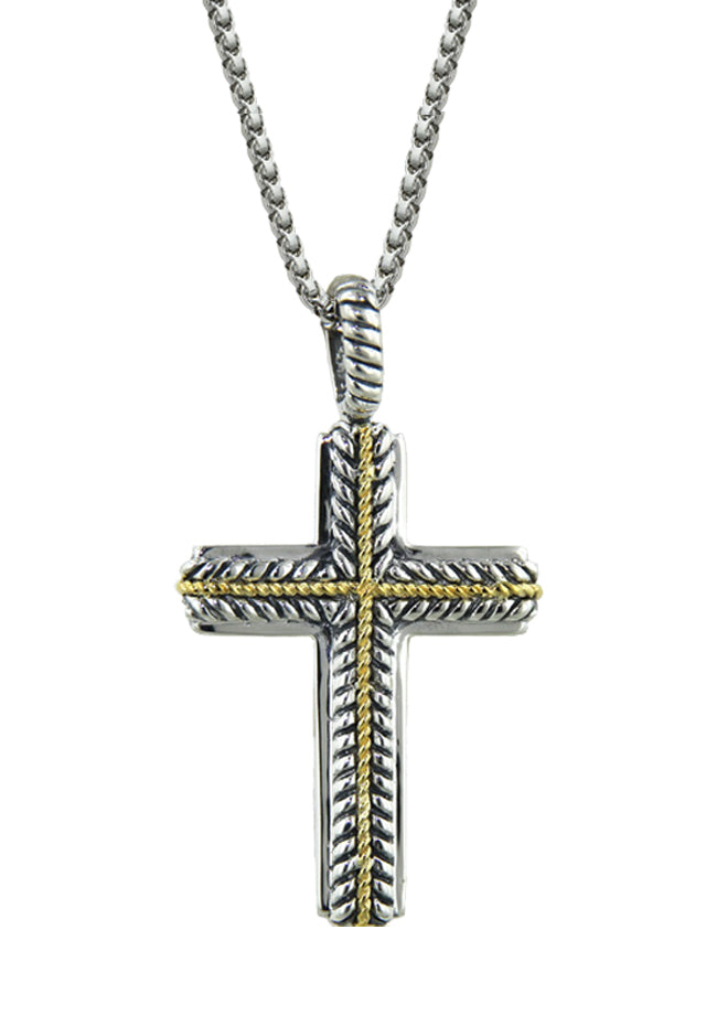 Balissima Sterling Silver and 18K Gold Cross Pendant