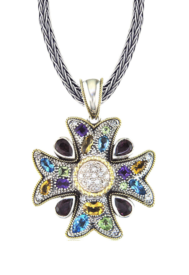 Effy 925 Cross Pendant with Sapphires, 5.50 TCW