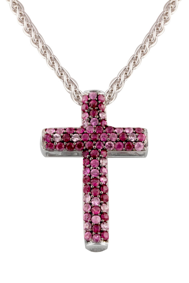 Effy 925 Sterling Silver Ruby & Pink Sapphire Cross Pendant, 2.27 TCW