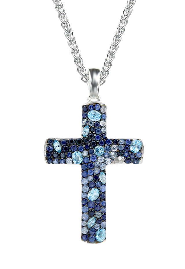 Effy 925 Sterling Silver Blue Topaz and Sapphire Cross Pendant, 4.17 TCW