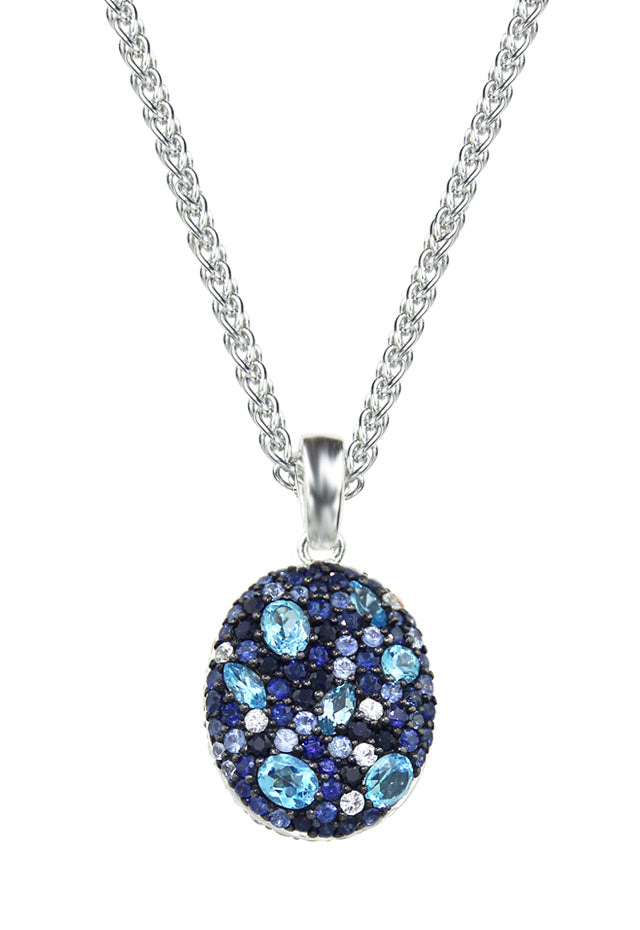 Balissima Blue Topaz and Sapphire Pendant, 4.39 TCW