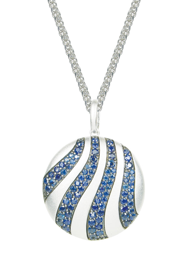 Effy 925 Sterling Silver Blue Sapphire Circle Pendant, 4.75 TCW