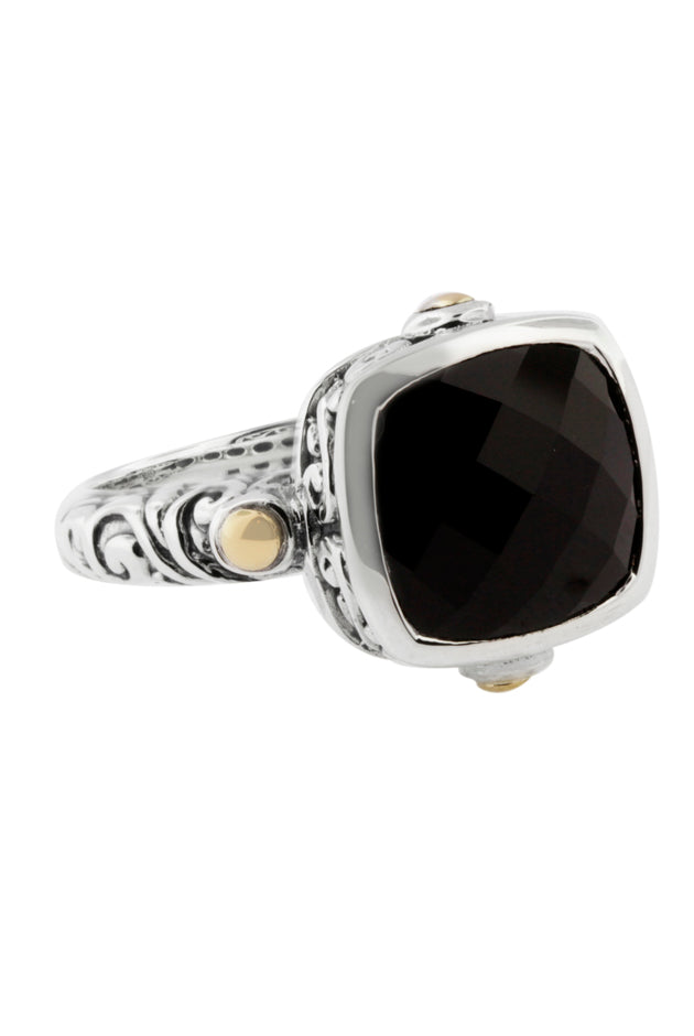 Effy 925 Sterling Silver & Gold Onyx Ring, 4.51 TCW