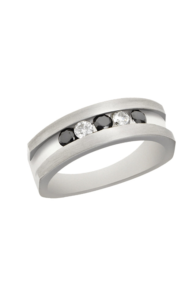 Effy Men's Sterling Silver Black and White Diamond Ring, 0.50 TCW