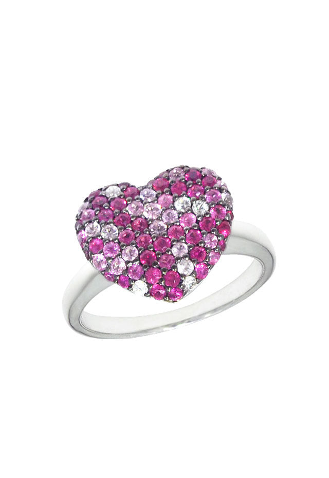 Effy 925 Sterling Silver Pink Sapphire Splash Heart Ring, 1.28 TCW