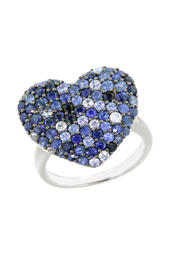Effy 925 Sterling Silver Blue Sapphire Heart Ring, 2.60 TCW