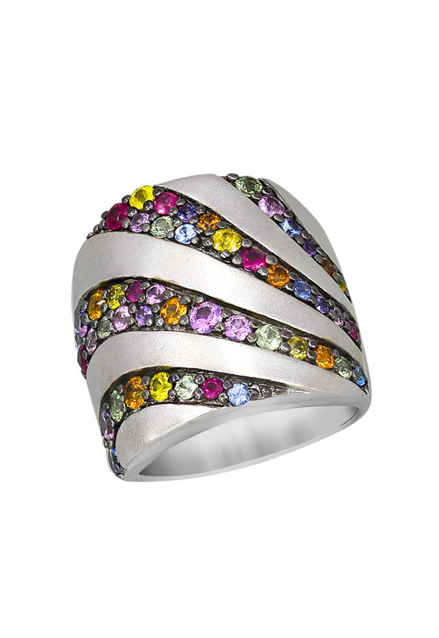 Balissima Sterling Silver Multi Gemstone Ring, 2.63 TCW