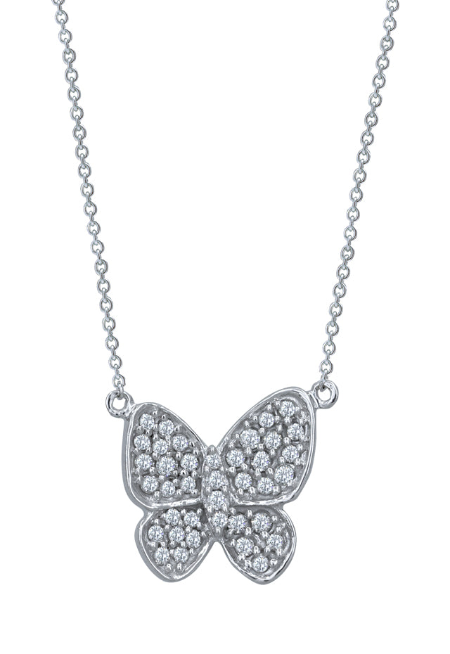 14K White Gold Butterfly Diamond Pendant, .37 TCW
