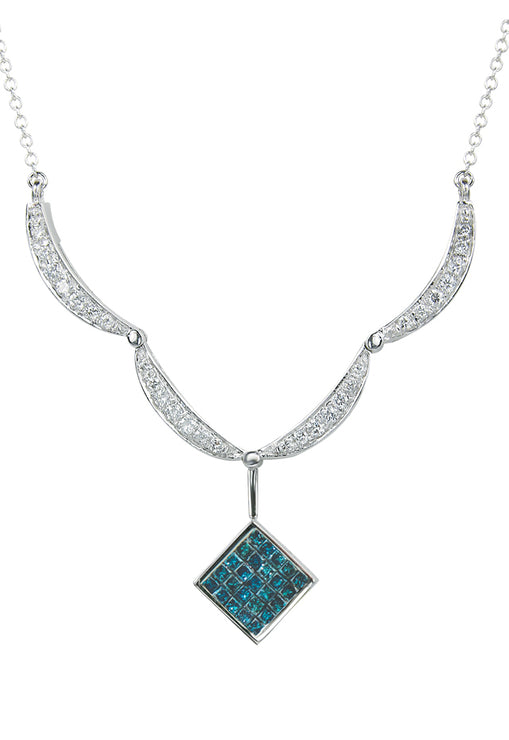 DiVersa Blue and Black Diamond Pendant, 1.50 TCW