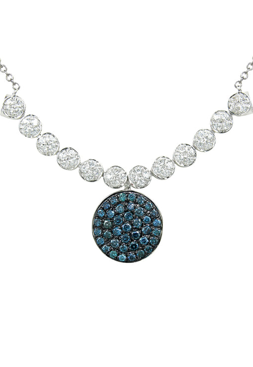 DiVersa White and Blue Diamond Pendant, 1.10 TCW