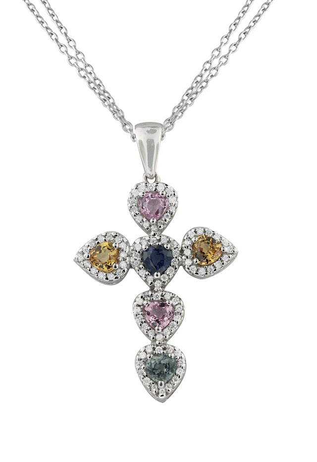14K White Gold Multi Gemstone & Diamond Cross Pendant