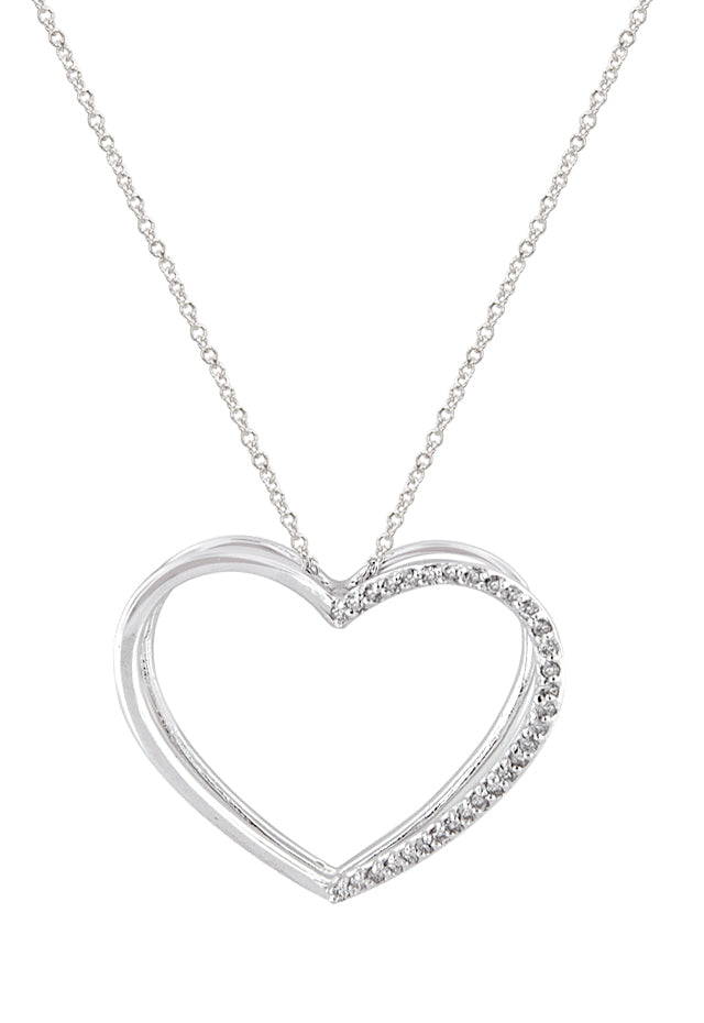 Heart Pendant with Diamonds, .15 TCW