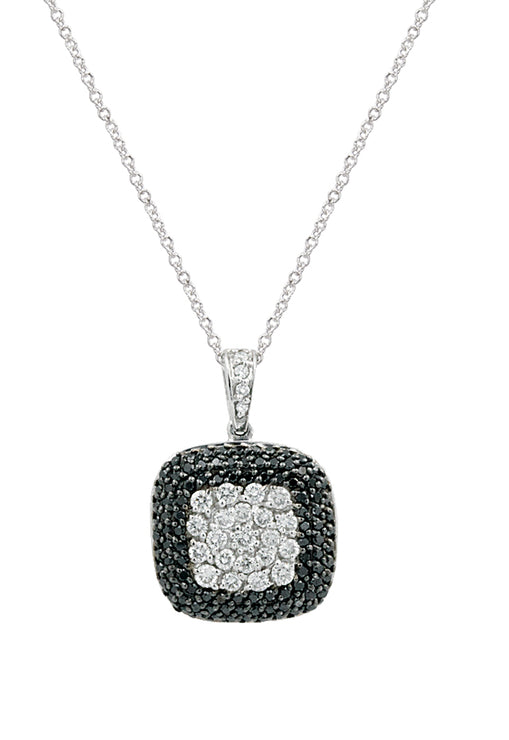 Effy 14K White Gold Black and White Diamond Pendant, 0.75 TCW