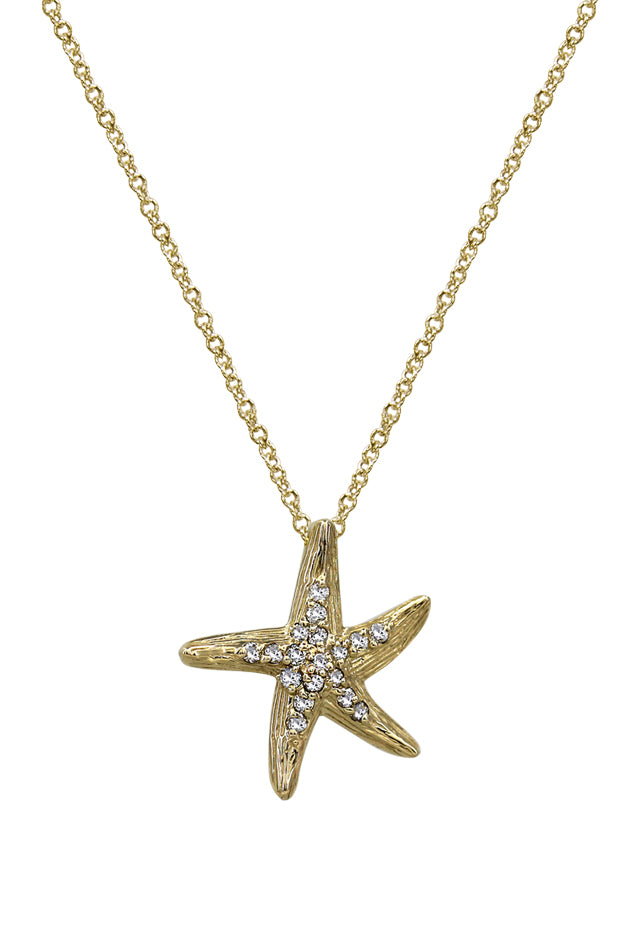 Effy 14K Yellow Gold Diamond Starfish Pendant, 0.13 TCW