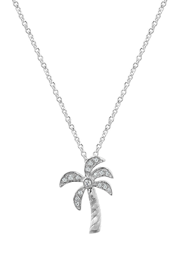 Moderna Diamond Palm Tree Pendant, .11 TCW