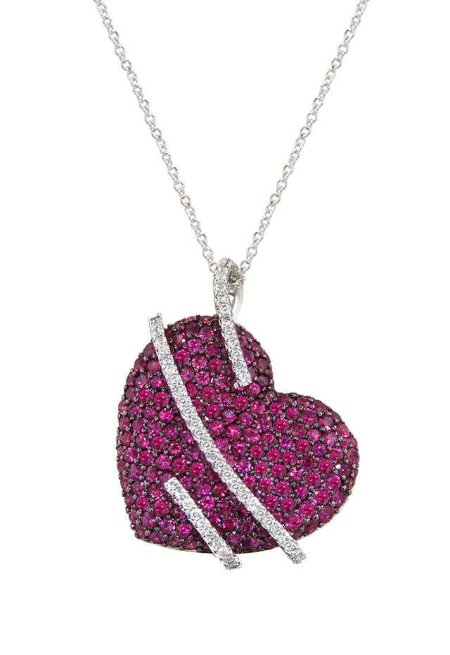 Heart Necklace with Ruby and Diamonds, 4.51 TCW
