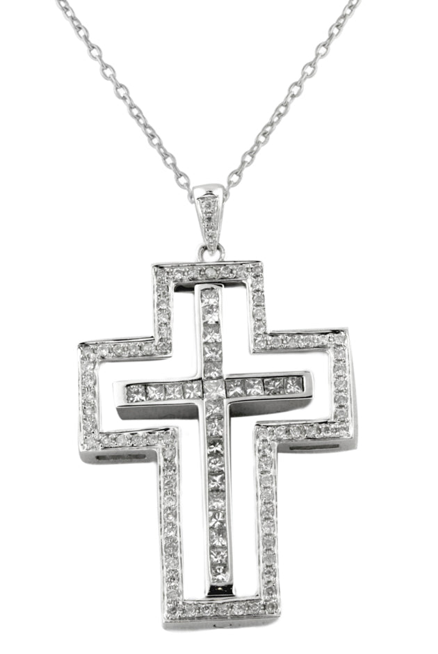 Effy Diversa 14K White Gold Black & White Diamond Cross Pendant, 1.08 TCW