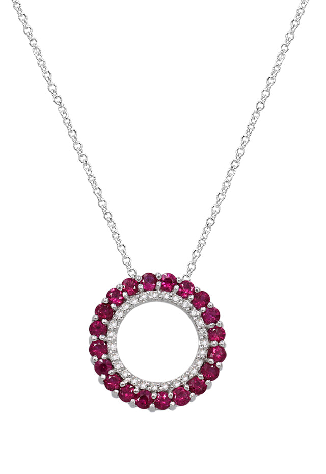 Gemma Ruby & Diamond Circle Pendant, 1.46 TCW