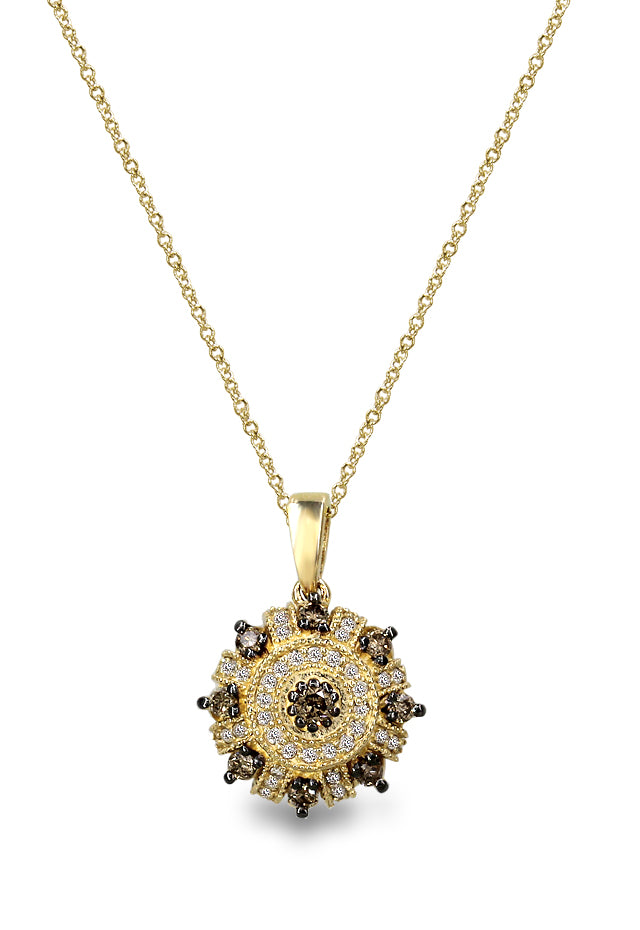 Yellow Gold Cognac and White Diamond Pendant, .40 TCW